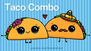 getlinkyoutube.com-How to Draw Cartoon Tacos Cute step by step Easy - Cute Cartoon Food