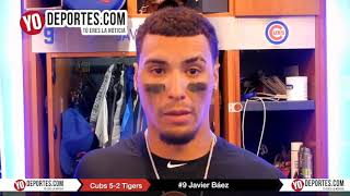 Javier Báez se roba la segunda y el home contra Tigres de Detroit