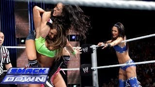 getlinkyoutube.com-The Bella Twins vs AJ Lee & Tamina Snuka - WWE SMACKDOWN 28 3 14