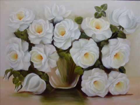 pintura de rosas com óleo em tela video aula