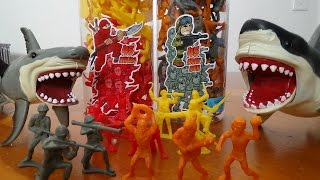 "getlinkyoutube.com-Army Men vs Cave Men Unboxing & Playing War with Sharks ""Toy Freaks Style"""