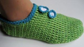 getlinkyoutube.com-Heklane papuče - popke, pape ili priglavci (Crochet Slippers)