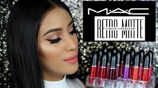 getlinkyoutube.com-New Mac Cosmetics Matte Retro Liquid LipColours/ Lipsticks| Lip Swatches + review