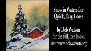 getlinkyoutube.com-Snow in Watercolor, Quick, Easy, Loose