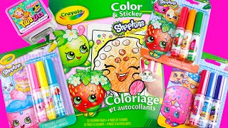 getlinkyoutube.com-Shopkins Crayola Coloring Sticker Book! Speed Color Strawberry Kiss! Twozies Unboxing