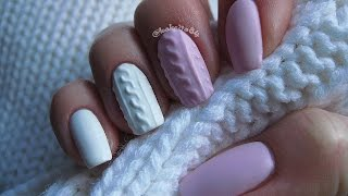 getlinkyoutube.com-Manicure Hybrydowy - 3D Cable Knit Sweater - Sweterek - Semilac 056, 001