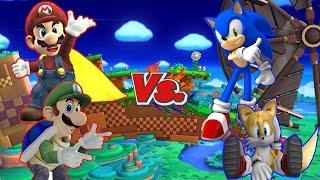 getlinkyoutube.com-SSBB WiiU Modded Battles: Mario & Luigi Vs Sonic & Tails