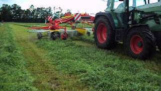 Pottinger Top 972C S Line Rake 9 - 10 mtr wide rake in action