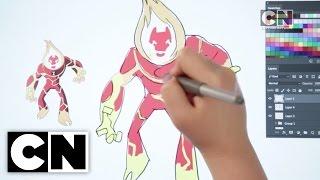 getlinkyoutube.com-How To Draw Heatblast From Ben 10