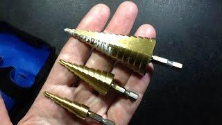 getlinkyoutube.com-Testing generic ebay stepped cone drills on plastic.