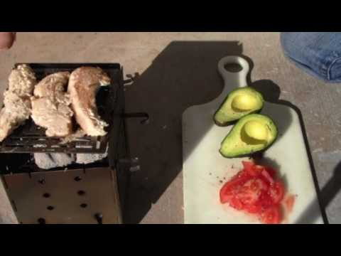 Grilled Chicken Wrap Cooked Outdoors On The Firebox Camping Stove