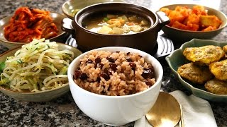 getlinkyoutube.com-Korean red bean rice and side dishes