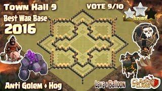 getlinkyoutube.com-Clash Of Clans - Town hall 9 (Th9) War base anti 3 star 2016. Anti Golem,Hog,Lava + Balloon