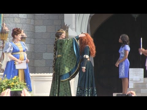 Full Princess Merida coronation ceremony at Disney's Magic Kingdom - 11 princesses gather