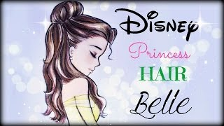 getlinkyoutube.com-How to draw and color Disney Princesses Hair ❤ Belle