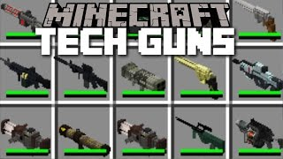 Minecraft TECH GUN MOD / PLAY WITH DEATH RAYS AND ZAP YOUR ENEMIES!! Minecraft