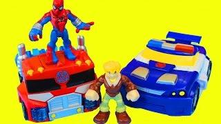 getlinkyoutube.com-Transformers Rescue Bots Optimus Prime and Spider-Man Battle Imaginext Dinosaur Playskool
