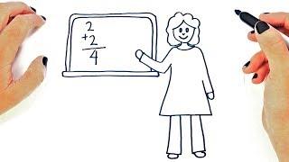 How to draw a Female Teacher Step by Step