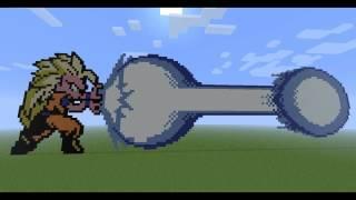 getlinkyoutube.com-Minecraft - Pixel Art - Goku Super Sayan 3 Lanzando Un Kamehameha!!