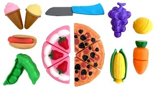 getlinkyoutube.com-Toy Food Deluxe Slice and Play Food Set Toy Cutting Food Kitchen Cooking Set Play Food Videos