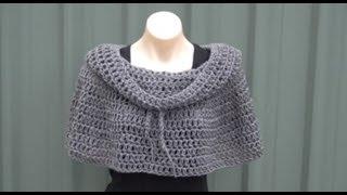 getlinkyoutube.com-Cowl Neck Poncho Crochet Tutorial
