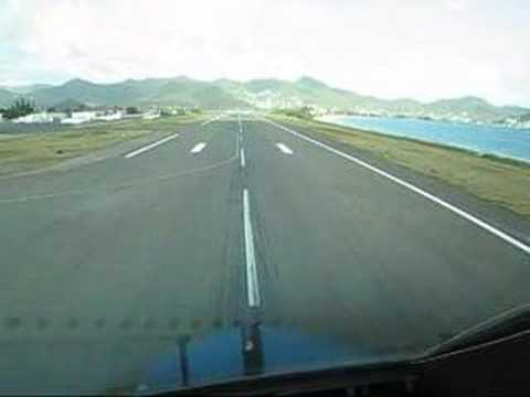 KLM Boeing B747-400 TakeOff St Maarten Cockpit view