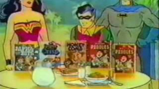 getlinkyoutube.com-Vintage 80's Post Cereal Box TV Commercial with Batman, Robin, Superman, & Wonder Woman