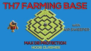 getlinkyoutube.com-TH7 FARMING BASE | Protect Dark, Gold, Elixir | Air Sweeper | Clash of Clan Base Build Town Hall 7