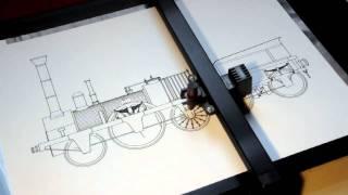 getlinkyoutube.com-Roland DXY-1150 pen plotter drawing the Adler steam locomotive