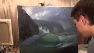 getlinkyoutube.com-How to draw sea waves. Sea storm. The best lesson.