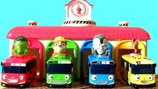 getlinkyoutube.com-꼬마버스 타요 Garagem do Tayo o Pequeno Ônibus com a Patrulha Canina ちびっこバス・タヨ Brasil toysBR