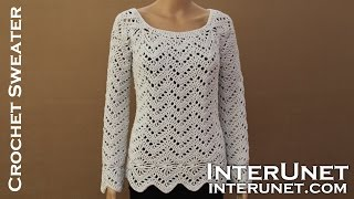getlinkyoutube.com-Long sleeve sweater crochet pattern. Learn how to crochet lace pullover.
