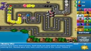 getlinkyoutube.com-Bloons Tower Defense 4 - Track 1 Walkthrough - Hard - No Lives Lost (Wizard Strategy) Part 1