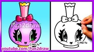 How to Draw Easy Cartoons - Perfume Bottle Tutorial Cute + Stylish Fun2draw Kawaii