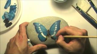getlinkyoutube.com-How to paint a butterfly on a sea rock | Time-lapse painting video tutorial