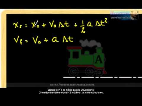 Ejercicio-8 Fisica basica universitaria - Cinematica unidimensional - 2 moviles usando ecuaciones