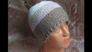 getlinkyoutube.com-Вяжем простую шапочку спицами. hat knitting