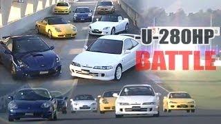 getlinkyoutube.com-[ENG CC] -U-280HP Battle - Integra R, S2000, Boxter, S15, Celica, MR-S, B4 Tsukuba 2000