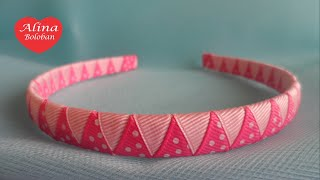 getlinkyoutube.com-Оплетение Ободка Двумя Лентами . Мастер Класс для Начинающих  / D.I.Y. Braided Headbands two ribbons