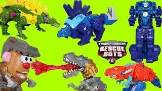 getlinkyoutube.com-Transformers Rescue Bots Chase Rescue Dinobot + Super Dinobot Team Grimlock Optimus Prime Bumblebee