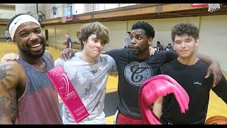 2v2 IRL BASKETBALL CHALLENGE | LOSING TEAM HAS TO DYE HAIR PINK WAGER