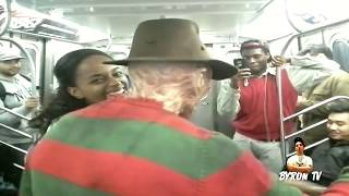 getlinkyoutube.com-Freddy Krueger riding the New York City Subway