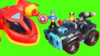 Marvel Playskool Heroes Super Vehicle Adventures Wolverine Iron Man Captain America War Machine