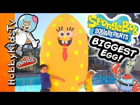 Worlds BIGGEST SPONGEBOB Surprise Egg! Toys + Play-Doh, Mega Blocks Invisible Car HobbyKidsTV