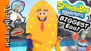 getlinkyoutube.com-Worlds BIGGEST SPONGEBOB Surprise Egg! Toys + Play-Doh Mega Blocks Invisible Car HobbyKidsTV