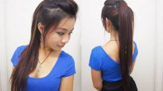 getlinkyoutube.com-Cute Ponytail Hairstyles for Medium Long Hair l Chic Edgy Ponytail l Quick and Easy Hairstyles