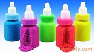 Making-Kinetic-Sand-Baby-Milk-Bottle-DIY-Learn-Colors-Nursery-Rhymes-Play-Doh-Pjmasks-Surprise-Eggs width=