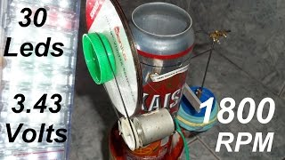 getlinkyoutube.com-Resultados de potência do motor Stirling caseiro com latinhas - Stirling engine