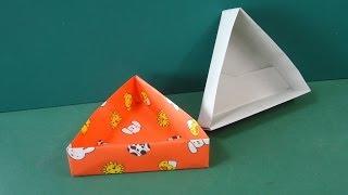 """折り紙「三角形の箱」折り方""""Triangle Box""""Origami"""