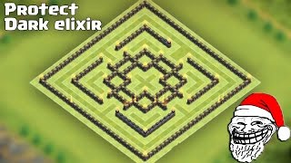 Town Hall 9 (TH9) Troll hybrid base [Protect dark elixir after update] + Replays